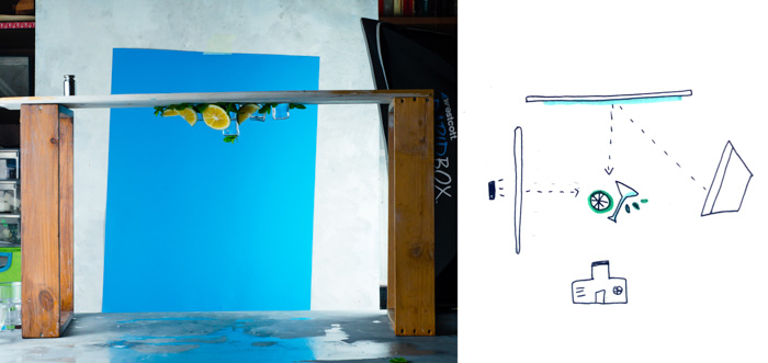 Upside down shot of poruring water onto a still life on blue background and schematic