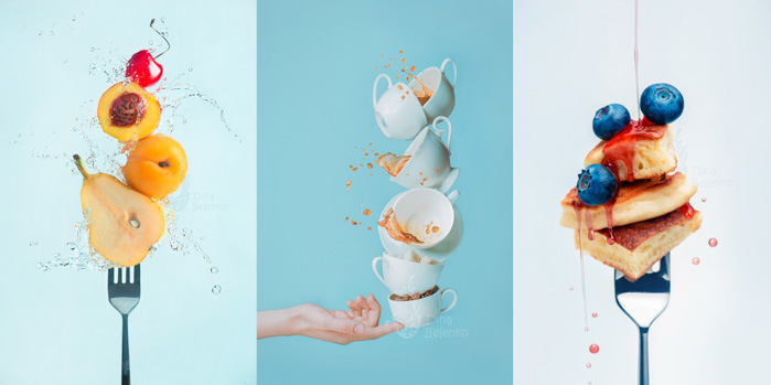 Food photography triptych showing frozen food and water splash photography on forks