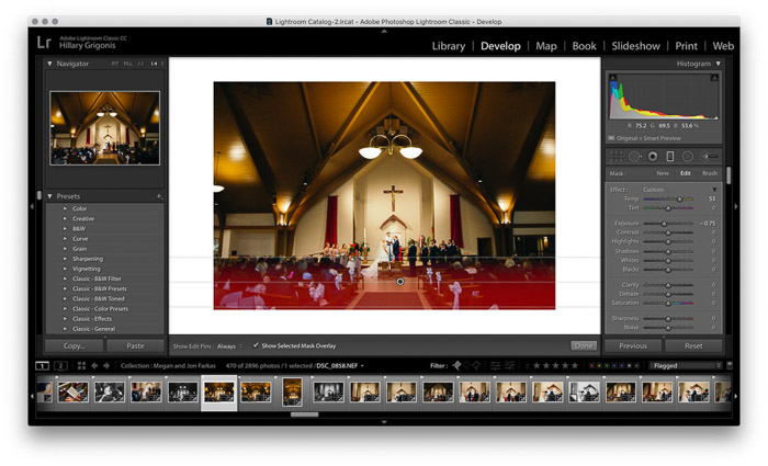 Screenshot of wedding photo editing on Lightroom
