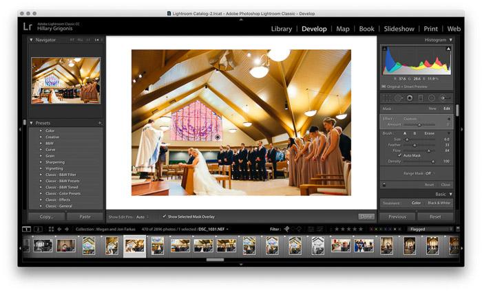 Screenshot of wedding photo editing on Lightroom - retouching