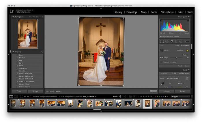 Screenshot of wedding photo editing on Lightroom - crop tool