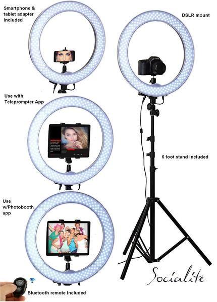 An iPad set up on a tripod as a DIY wedding photo booth