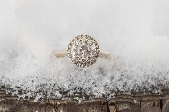 close up photo of engagement ring in ice. Wedding photography gear
