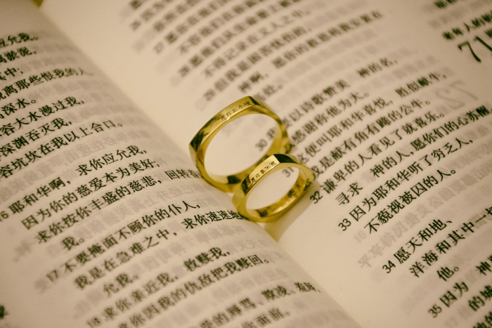Two wedding rings on a book