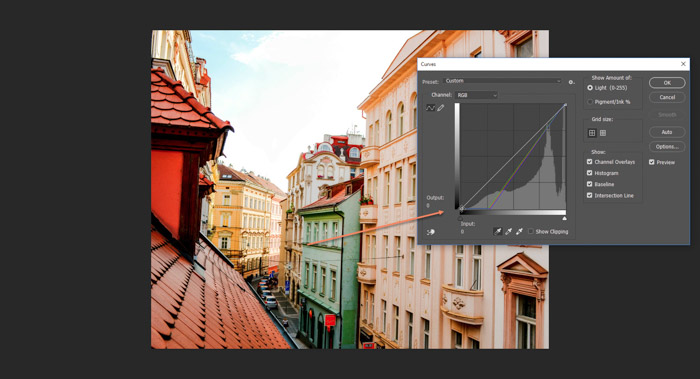 Screenshot of using the curved tool to correct white balance on Photoshop