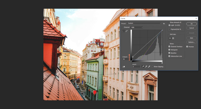 Screenshot of using the curved tool to correct white balance in Photoshop