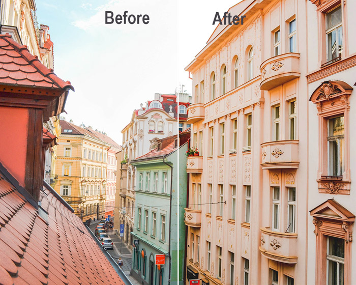 A before and after diptych of a street scene demonstrating how to correct white balance on Photoshop