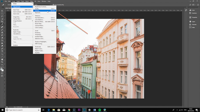 Screenshot of opening the curved tool to correct white balance on Photoshop
