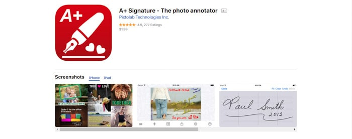 A screenshot of the A+ Signature homepage