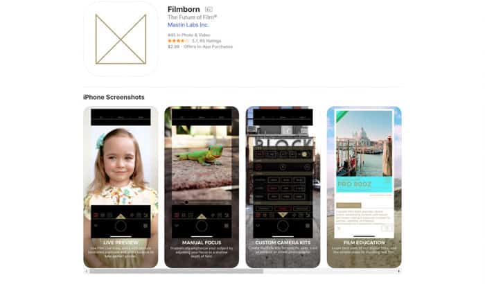 Screenshot of Filmborn app homepage - best apps for android & iPhone