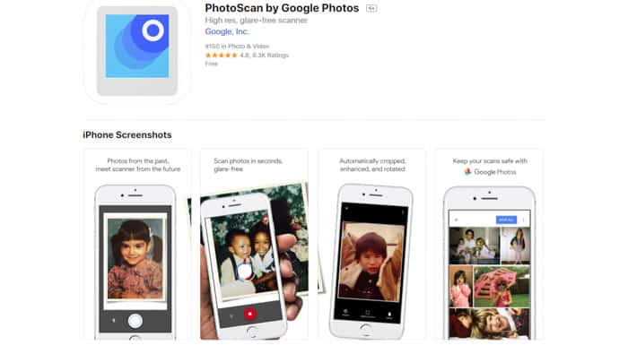 screenshot of Photoscan by Google Photos homepage
