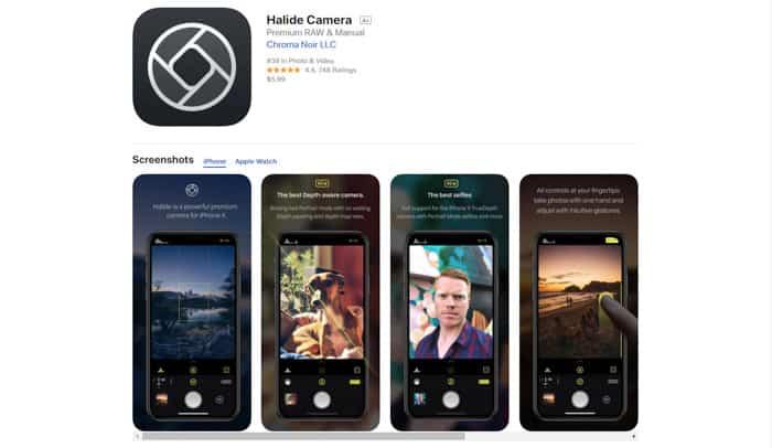 A screenshot of the Halide Camera homepage
