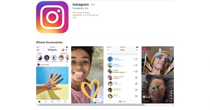 screenshot of the Instagram homepage, best photo apps for smartphone photography