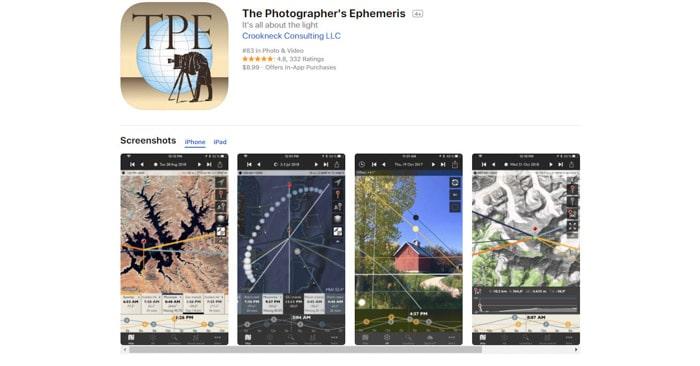 screenshot of the Photographers Ephemeris, best photo apps for iPhone photography