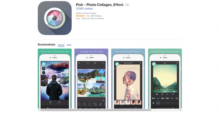 A screenshot of the PIxlr homepage, best apps for iPhone and smartphone