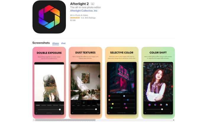 Screenshot of Afterlight 2 homepage - best photo editor apps for android & iPhone