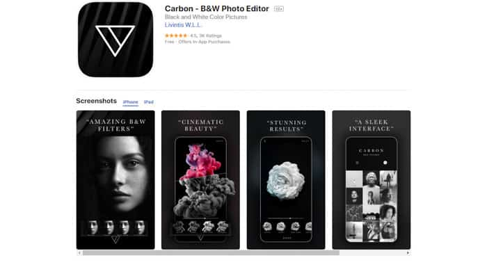 Screenshot ofCarbon b&w Photo editor homepage - best photo editing apps for android & iPhone