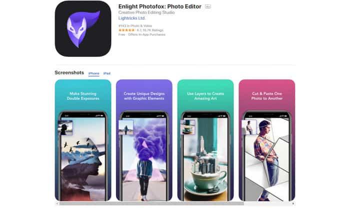 Screenshot of Enlight Photofox homepage - photo editor app
