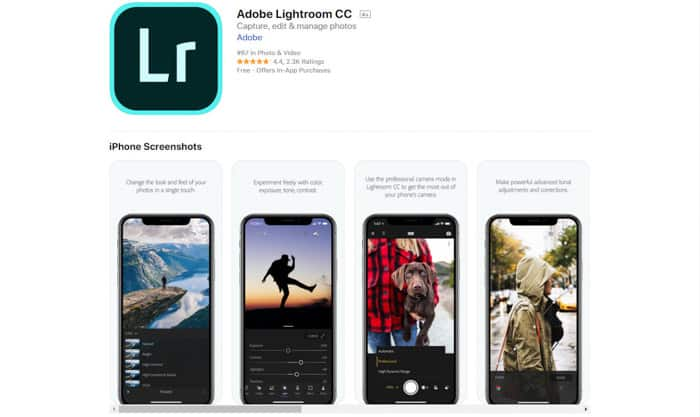 Screenshot of Lightroom CC homepage - best photo editor app for android & iPhone