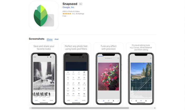 Screenshot of Snapseed homepage - best photo editor apps for android & iPhone
