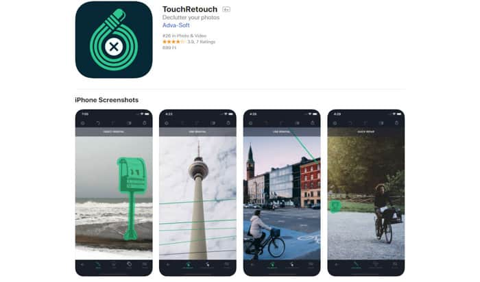 Screenshot of TouchRetouch app homepage