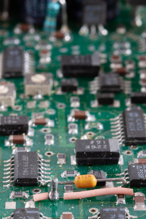 A photo of a circuit board taken with shallow depth of field