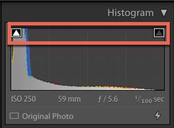 screenshot of a colour photography histogram