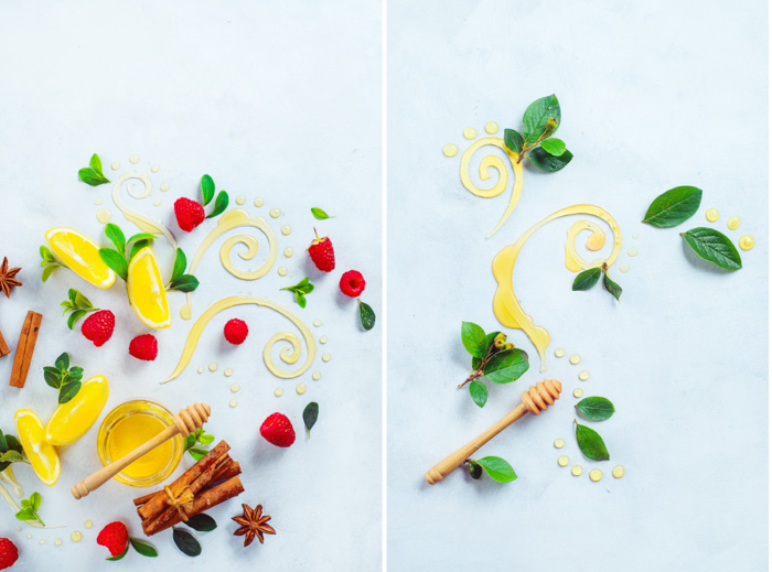 A bright and airy food photography themed diptych with honey, fruit and leaves