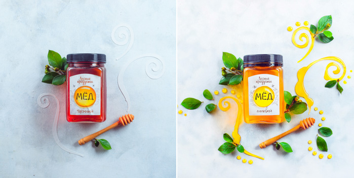 A bright and airy food photography themed diptych with honey, fruit and leaves on a light surface