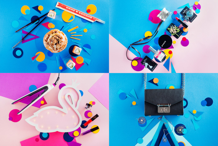 Four photo grid of colorful flatlay ideas
