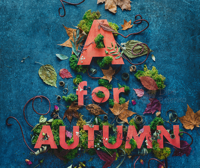 Cute autumn flatlay photo of the cut out text 'A for autumn' on a blue surface