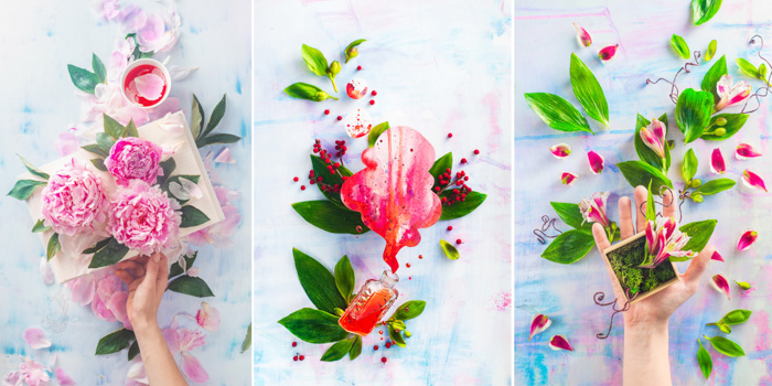 A three photo grid of bright and airy spring themed flatlay still life