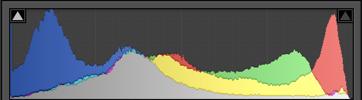 A screenshot of a histogram from Adobe Lightroom