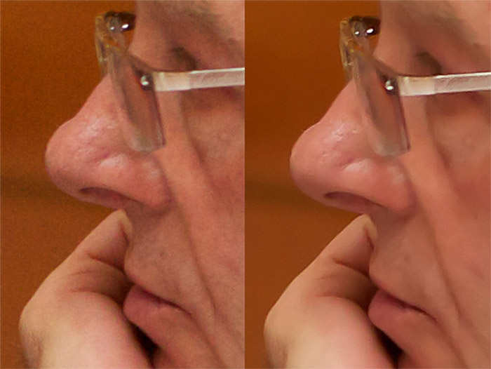 diptych close up portrait of a man with glasses , comparing before and after using Noise reduction