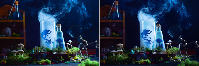 Diptych of adding final touches to a still life smoke photography shot