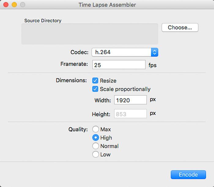Screenshot of opening a time lapse assembler application