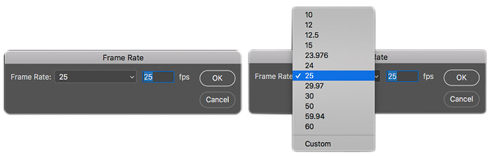 A screenshot of frame rate on Photoshop