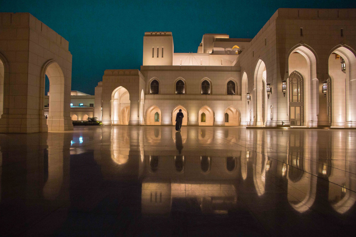 Wide angle image of the outdoor courtyard of Opera House Muscat
