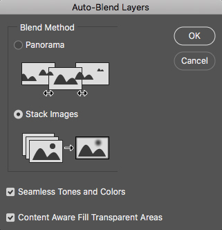 Screenshot of how to auto-blend layers on Photoshop for macro photography