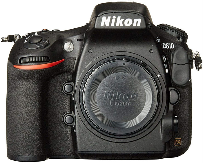A Nikon D810 camera for portraits on white background