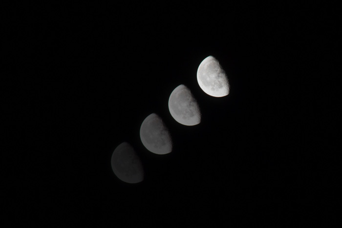 Cool time-lapse astrophotography of the moons movement across the nights sky