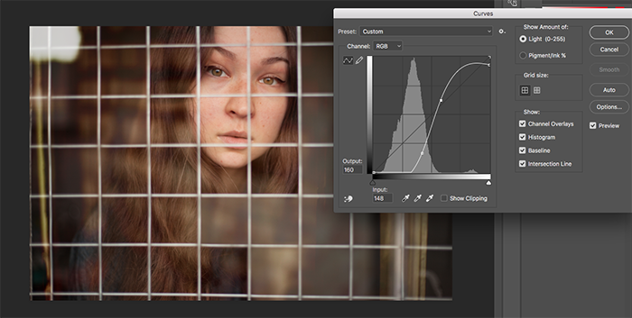 A screenshot of editing a chain link cut-out portrait of a girl