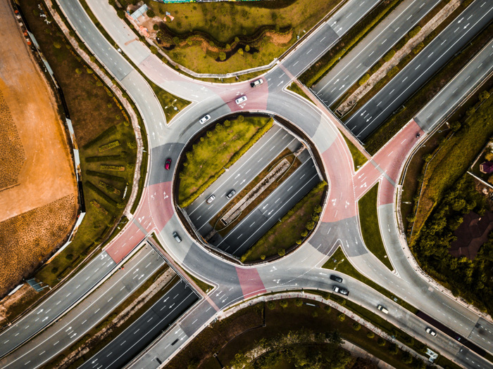 An aerial view of a busy motorway