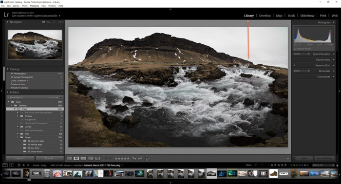 A screenshot showing a mountainous landscape image opened in Lightroom - how to export photos