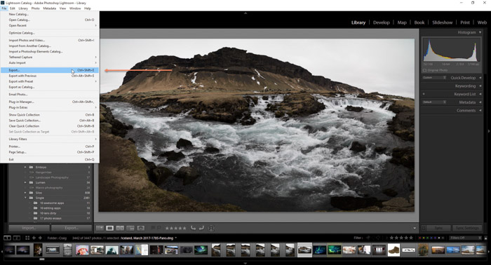 A screenshot showing how to export your photos from Lightroom using a landscape photo