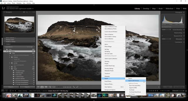 A screenshot showing how to export your photos from Lightroom
