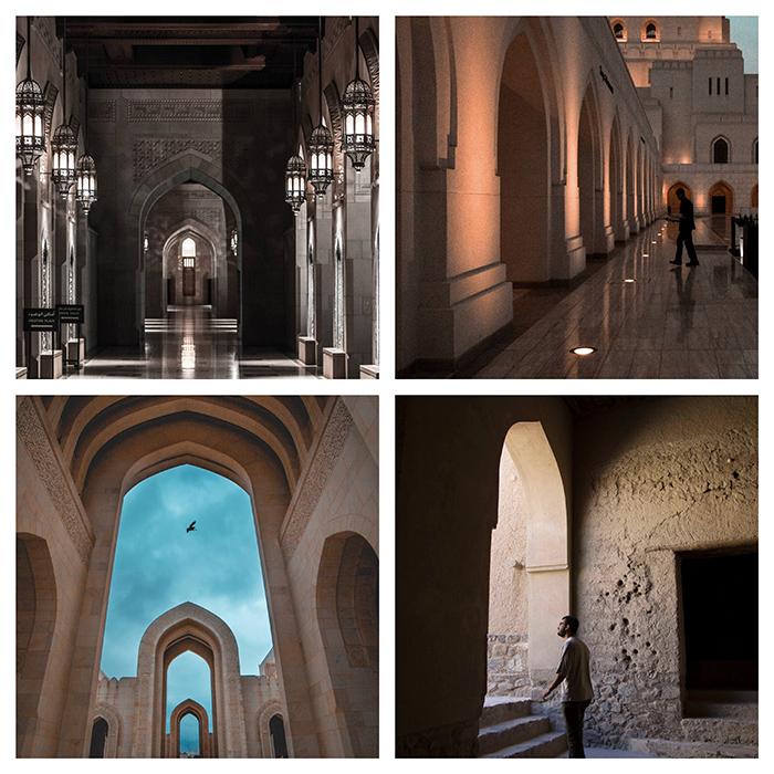 Une grille de quatre photos de l'intérieur d'une église ou d'un temple