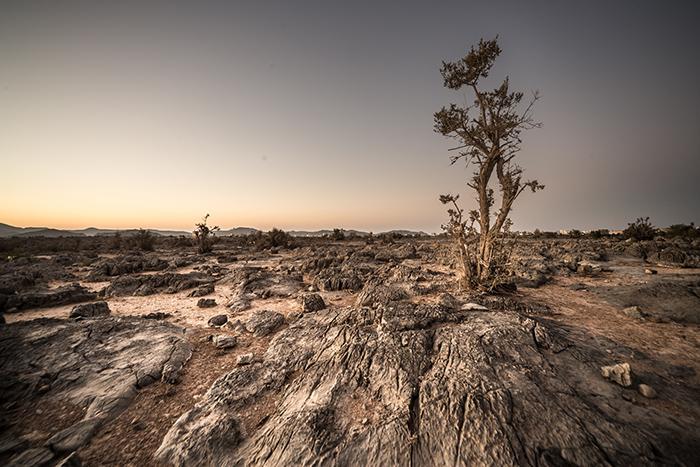 Un paysage aride et rocheux au coucher du soleil