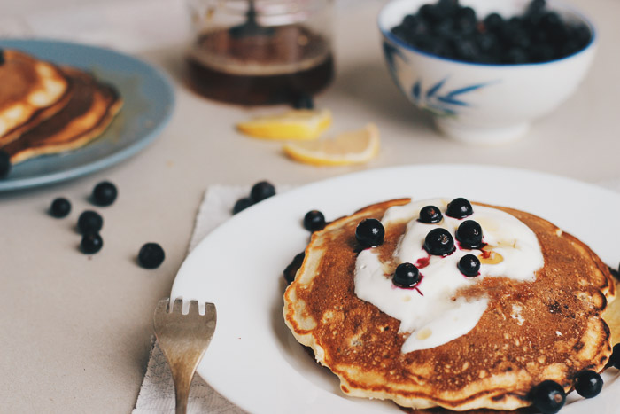 Delicious blueberry pancake photo shoot for food blogging