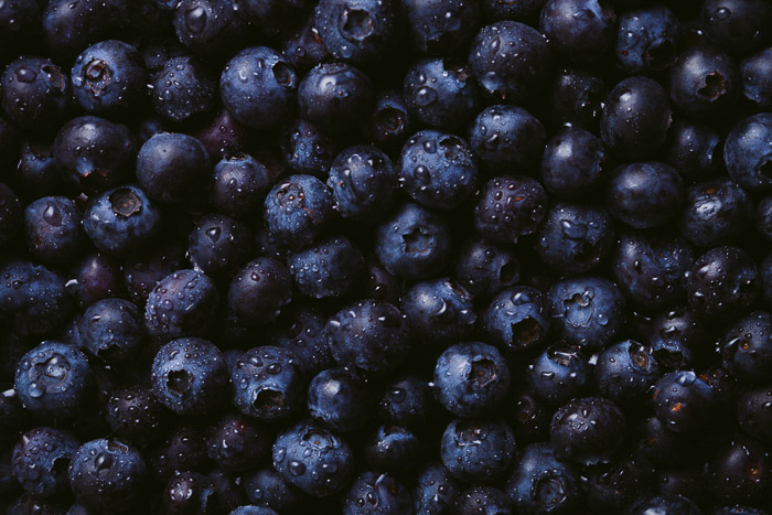 Close up shot of fresh blueberries
